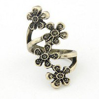 Vintage Style Antique Bronze Four Flower Finger Ring wholesale