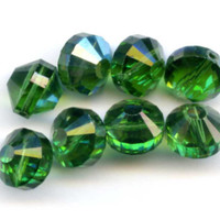 Vintage Swarovski Beads, Turmaline AB Green, Art. 5101, 10 mm (8)