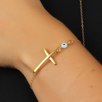Evil eye bracelet, Sideways cross bracelet, gold filled bracelet, protection bracelet, gold cross bracelet, faith bracelet, &quot;Syrinx&quot;