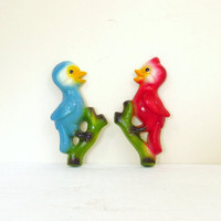 Vintage Chalkware Birds, Set of 2, Red & Blue Wall Hangings