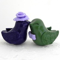 Dark Purple and Olive Green Love Birds Wedding Cake Topper, Bride and Groom