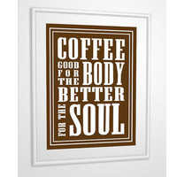 Coffee Print Giclee Art Typography Espresso 5 X 7 with Mat
