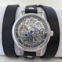 Stylish Retro Leather Band Manual-Winding Mechanical Skelton Silver Wrist Watch. 20% Off - 79 Dolars Only FREE SHIPPING