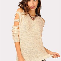 Carla Cut Out Sweater - Cream at Necessary Clothing