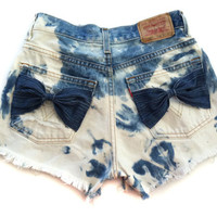 HIGH WAISTED Bleached FRAYED Destroyed Cut Off Shorts with Bows