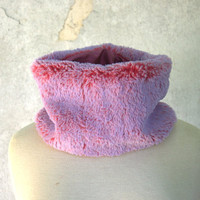 Faux Fur Pink Red Cowl, Fake Fur Neckwarmer