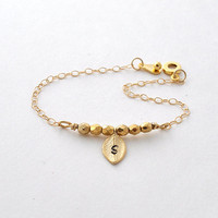 Gold filled leaf initial bracelet, beaded bracelet, monogram by jewelmint.etsy.com