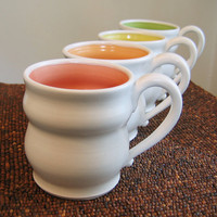 Large Pottery Mugs in Summer Fruit Colors - Set of Four Stoneware Coffee Mugs