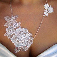 Jolene Embellished White Lace Necklace with Pearl by kissmeawake