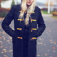 Black Hooded Slim Long Duffle Coat  S003241