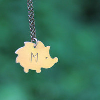 Hand Stamped HEDGEHOG / Personalized Necklace / Handstamped Copper Charm Pendant