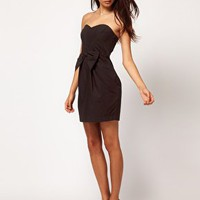 ASOS Strapless Dress With Bow Front at asos.com