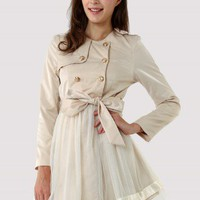 Ivory Double Breasted Dress Coat - New Arrivals - Retro, Indie and Unique Fashion