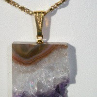 Amethyst Slice on Gold tone necklace
