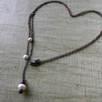 Rustic Freshwater Pearl and Garnet Sterling Necklace - Tassel Necklace - Birthstone Necklace