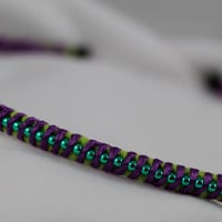 4mm Wrapped Headband in a Lime Green Base and a Turquoise Blue Chain Wrapped in Purple