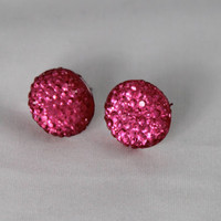 10mm Hot Pink Resin Faceted Flat Back Cabachon Sparkling Pierced Hypoallergenic Nickel Free Earrings