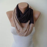 Christmas Gift - Two Colors - Infinity Scarf - Soft Tricot Fabric - Dark Purple and Beige - Cowl - Loop Scarf by Umbrella Design