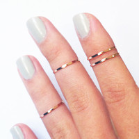 4 Above the Knuckle Rings - rose gold copper filled thin shiny bands - set of 4 stackable midi rings