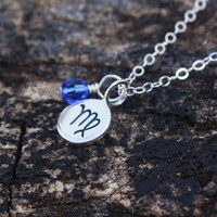 Zodiac sign necklace - sterling silver zodiac sign . custom swarovski crystal birthstone . personalized charm jewelry . astrology