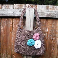 Brown boucle crochet shoulder purse with floral rose detail at front and flannel butterfly lining...... 10%off with code WNL10 at checkout!