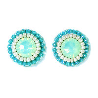 Mint stud earrings - mint green turquoise blue - swarovski delicate button earrings