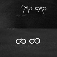 Set 2 Stud Earrings Bow, Infinity Earrings, Sterling Silver earrings, silver studs, post earrings