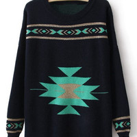 Black Round Neck Long Sleeve Geometric Print Sweater - Sheinside.com