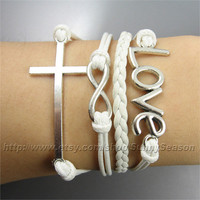 Infinity Bracelet,Cross Love Bracelet,White  Wax Cords Pu Leather Multi-element Charm bracelet,Adjustable,Great Gift