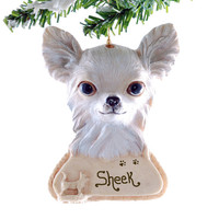Long Haired Chihuahua Ornament Personalized Golden Chihuahua Christmas ornament your puppy&#x27;s name personalized on this resin ornament