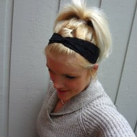 Classic black twist stretch lace headband feminine/classic/romantic