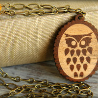 Wise Wood Owl Necklace in Aged Brass