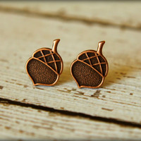Acorn Earring Posts in Antique Copper