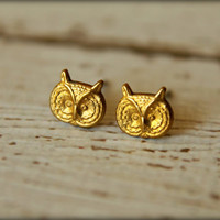 Owl Head Earring Studs in Raw Brass, Stainless Steel Posts