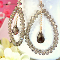 Swarovski crystal smokey quartz tear drop hoop earrings