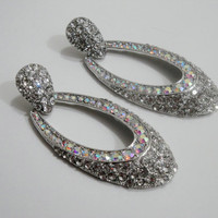 Clear Crystal Hoop Earrings, Large Crystal Earrings, Crystal Bridal Earrings, Wedding Earrings, Bridal, Wedding,