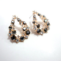 Pear Shaped Earrings, Rhinestone Crystal Earrings, Dainty Earrings, Evening Earrings, Chic Earrings, Bridal Earrings, Gold, Golden