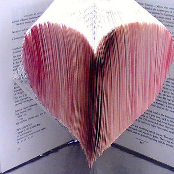 Heart Book Origami -- Made to Order Custom Heart Folded Book Art -- Upcycled Book Origami