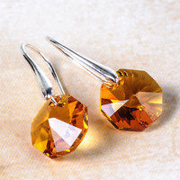 Orange Autumn Earrings Crystal Earrings Autumn Fashion Jewelry