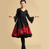 Black shirt dress with embroidery Maple Leaf  (331)