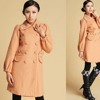 camel coat button curved flap pockets wool jacket (382)