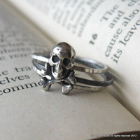 Skull Stack Rings Sterling Silver Hammered Oxidized