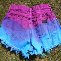 Vintage Wranglers High Waist Pink, Purple & Blue Ombre Denim Shorts Cutoffs W30""