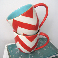 Buckley Chevron Mug in Coral by jillrosenwald on Etsy
