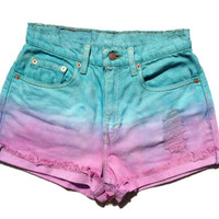 Ombre Levi&#x27;s High Waisted Cut Off Shorts