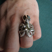 $220.00 Silver Octopus Ring by heronadornment on Etsy