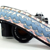 Tribal, dSLR Camera Strap, OOAK,  Native, Arrows, SLR, Denim, Blue, Pink