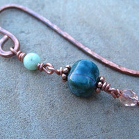 Copper Bookmark Beaded Hammered Bookmark