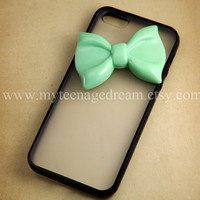 Lovely Mint Green Bow iPhone Case