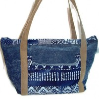 Denim Tote Bag Blue Batik Pockets Diaper Bag Weekender Shoulder Strap